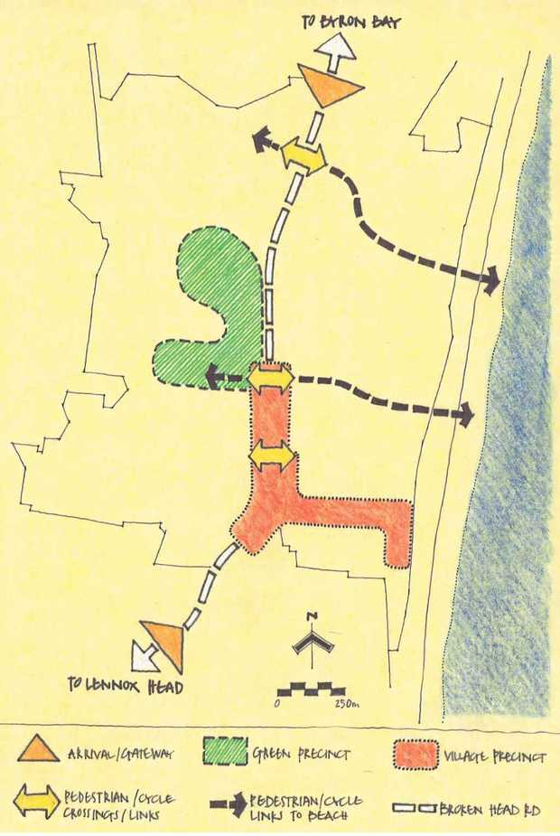 LOOKING FOR UNITY: The Designers suggestions included two access points from Broken Head Rd to Tallow Beach.