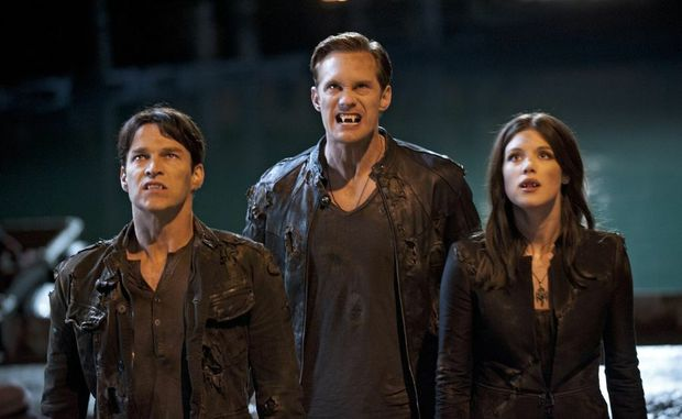 From left, Stephen Moyer, Alexander Skarsgard and Lucy Griffiths in a scene from the fifth series of TV series True Blood.