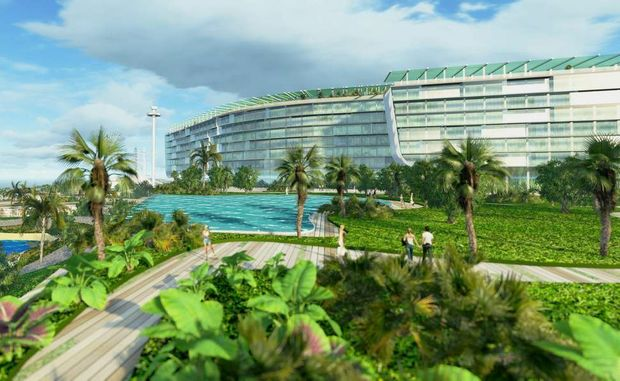 Clive Palmer has unveiled plans in Brisbane for the redevelopment of his Coolum resort.