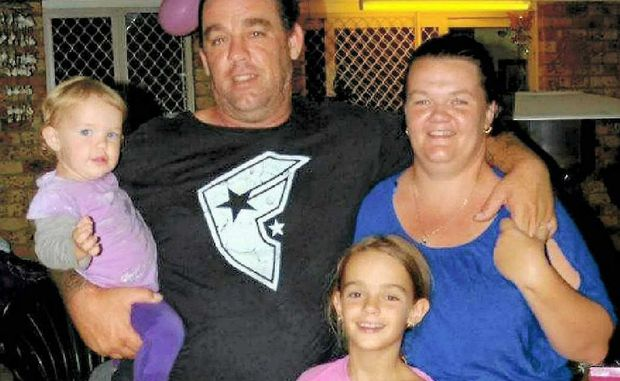 Murder victim Trinity Bates with little sister Mylee and parents Amanda and Damian, who was friends with killer Allyn Slater's father.