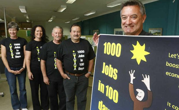 Georgina Eliason, Kerri Trevaskis, Phil Rogers, Barry Bradtberg and NORTEC branch manager Rod Huxley promote the 1000 jobs in 100 days campaign.