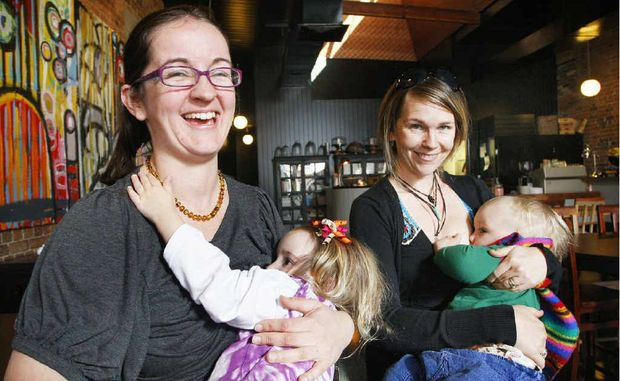 Ipswich mums attempt to break the breastfeeding world record at fourthchild. Pictured from left, Rachel Ballard with her daughter Kendra, 2, and Leonie Lammond with her son Luka, 16 months.