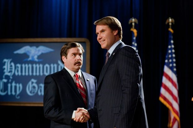 Zach Galifianakis, left, and Will Ferrell in a scene from the movie The Campaign.