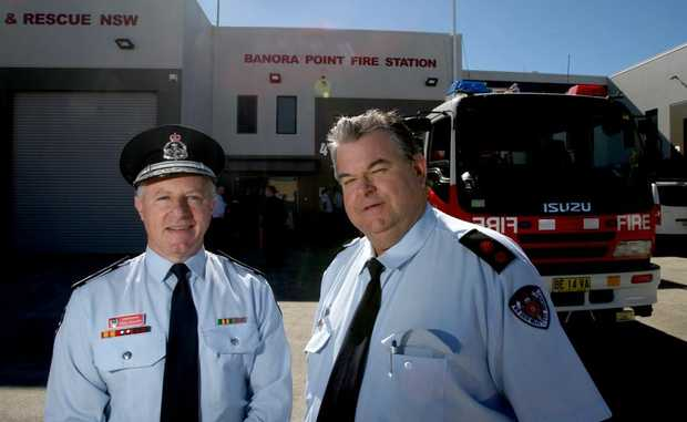 Commissioner Greg Mullins and Commander Darryl Pearce at the opening of the new-look Banora Point Fire Station.