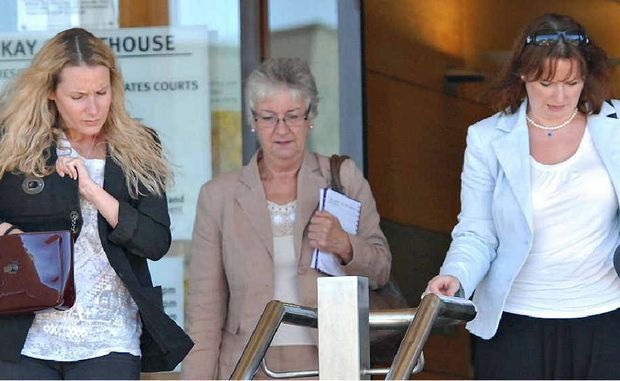 Missing man Hugo Barnett-Lonergan's family leaves the inquest. From left are his sister Marie-Christine, mother Brigid and sister Helena.