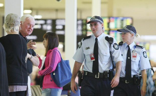 Australian Federal Police Officers on patrol at the Gold Coast Airport, want members of the public to report suspicious incidents at the airport.