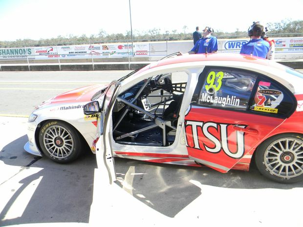 Carly Morrissey waits for a ride with Scott McLaughlin