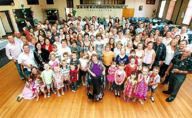 Evelyn Hall of Culcairn has 63 great-grandchildren.