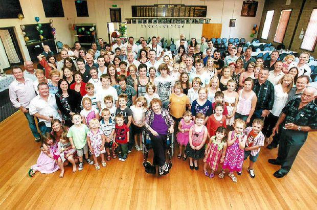 Evelyn Hall of Culcairn has 63 great-grandchildren.