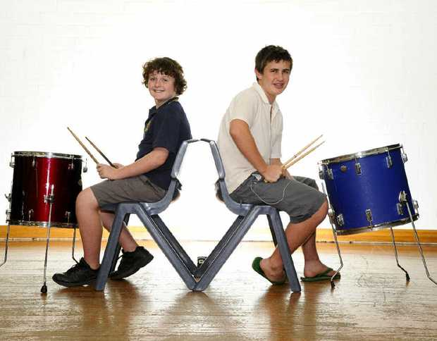 Jethro Carthew, 11 and Mark Hough, 15 – drummers at Clarence Valley Conservatorium – top 10 in Australia's Best Up and Coming Drummer competition.