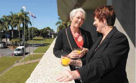 Rockhampton Mayor Margaret Strelow meets with Mackay Mayor Deirdre Comerford.