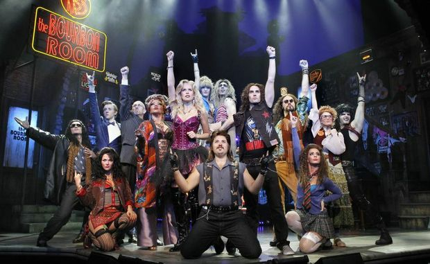 The cast of the Australian production of Rock of Ages.