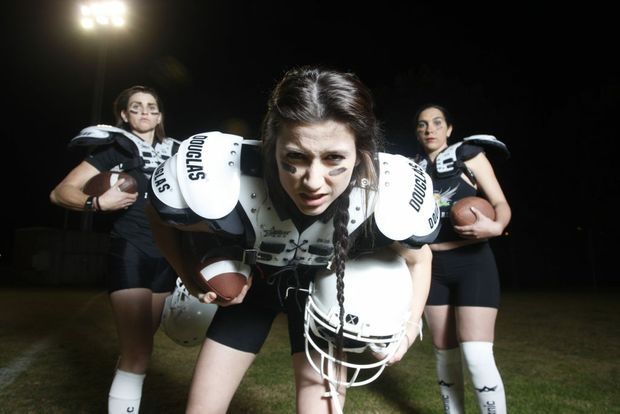 The Western Miners Ladies Football League players Saleena Roberts, Nikki Hubbard and Rachel Hardcastle (l-r) are preparing for their first gridiron match this Saturday.