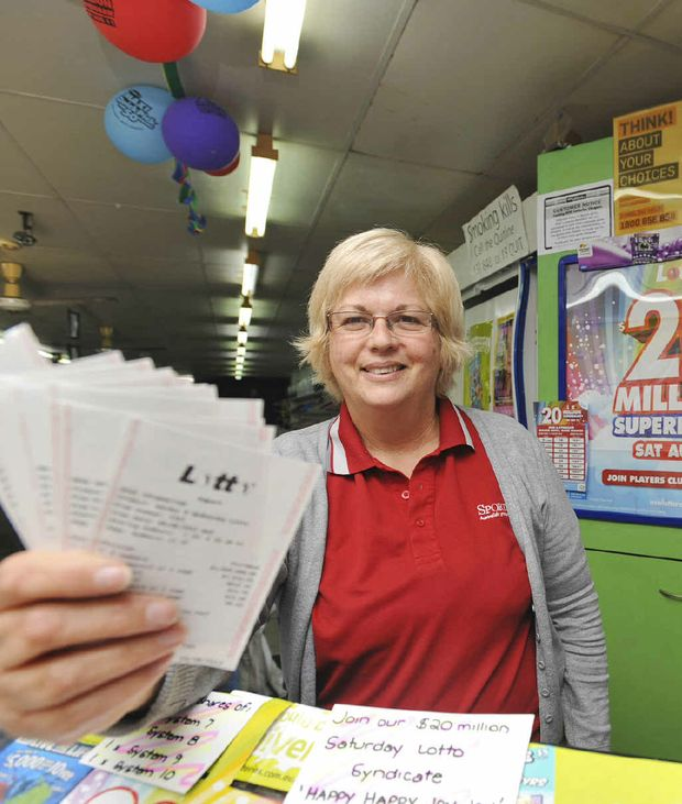 Judy Emery, co-owner of Grafton Lotto Plus, which sold a $2 lottery ticket which has won $100,000.
