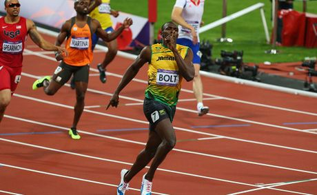 Usain Bolt of Jamaica races to the f