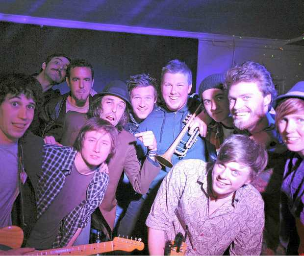 HOW MUCH CAN A MUSO BEAR?: Some of the performers gather for pic before their post-show jam at the Great Northern Hotel. Photo Lachlan Thompson