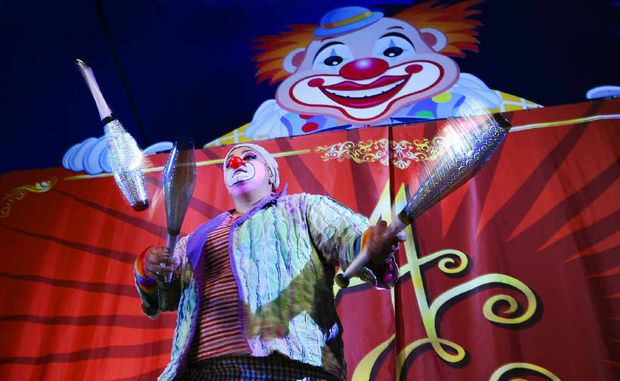 Squiggy the clown performs in the Ashton Entertainment circus, at the Grafton Showgrounds this weekend, and in Yamba next weekend.