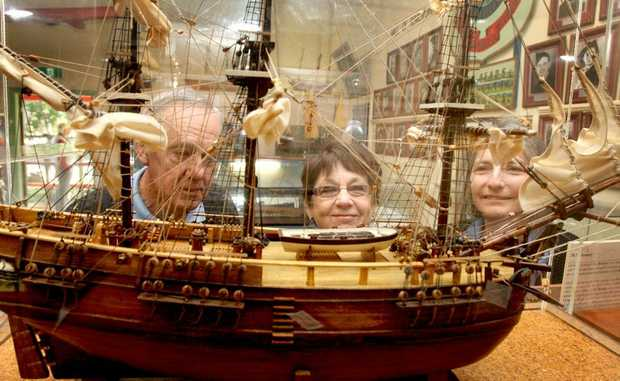 Noel Pittaway, Barbara Rachmaninoff and Carolyn Rifello(Tourism Officer) from Destination Tweed check out the Museum. Photo: Blainey Woodham / Daily News