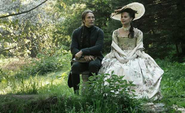 Mads Mikkelsen and Alicia Vikander in a scene from the movie A Royal Affair.