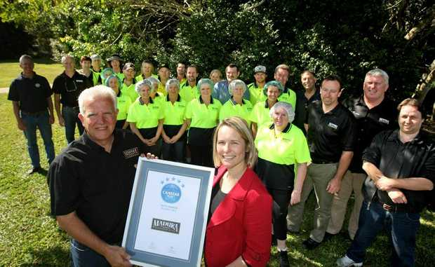 Madura Staff Celebrate their award on site at Murwillumbah. Photo: Blainey Woodham / Daily News
