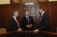 After the ceremony (from left) Chief Magistrate, Judge Brendan Butler, Attorney-General Jarrod Bleijie and new Coroner David O'Connell.
