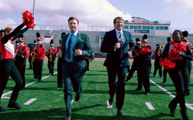 Jason Sudeikis, left, and Will Ferrell in a scene from the movie The Campaign.