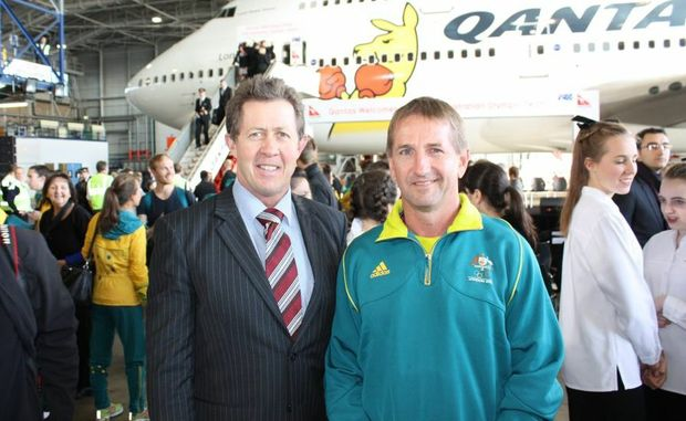 Pacific Vet Care vet David Johnson (right) is welcomed home from London 2012 by local Federal member Luke Hartsuyker who was at the official ceremony in his capacity as Shadow Minister for Sport.