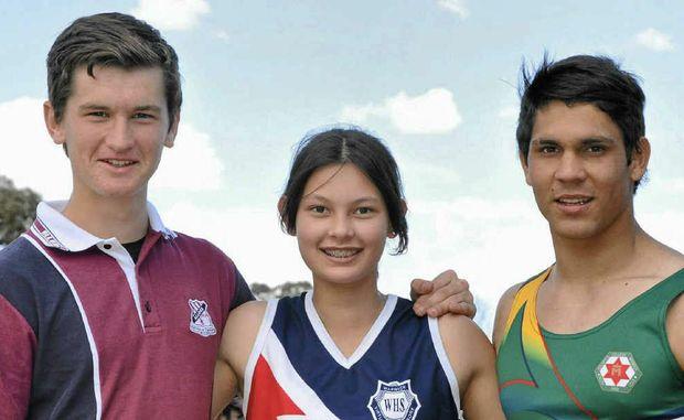 Jack Bannister (Allora), Aimee van der Hulst (Warwick High) and Brodie Sharman (Assumption) broke Warwick All Schools records.