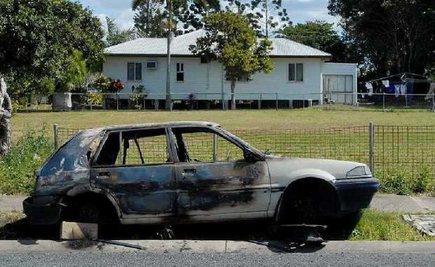 This burnt-out car on Nelson St is an example of what is becoming a common sight around Mackay.