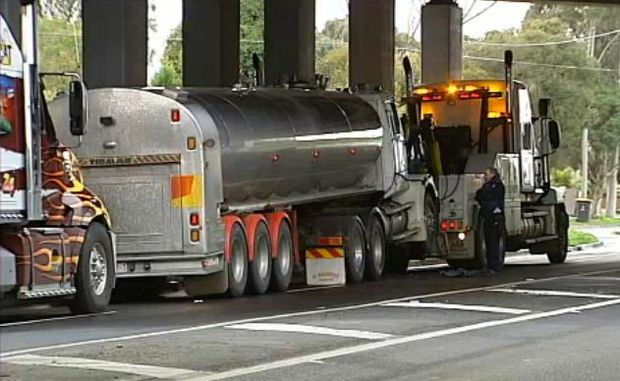 Two arrested after an alleged theft of a tanker loaded with 22,000 litres of milk. (ABC News)