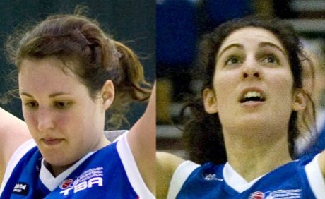Toowoomba basketball players Stacey Richter (left) and Stephanie Mylonas