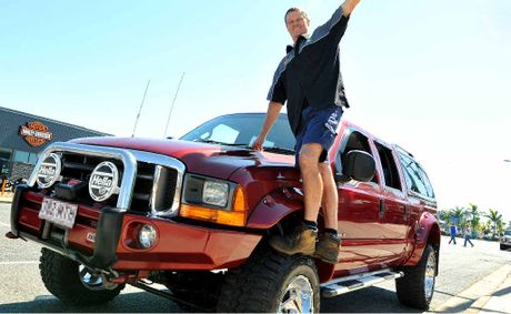 JG Centre workshop manager Ian Cordingley with the Ford F250 used by JG Centre Mackay to tow heavy equipment.