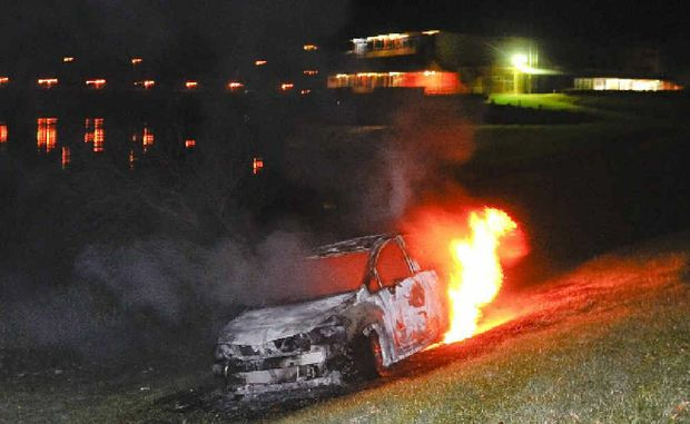 A car was set alight on the riverbank in South Grafton between Wharf St and Skinner St about 8pm on Monday.