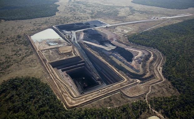 An aerial of the Alpha Coal Project test pit.