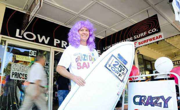 Low Pressure Surf Co's Noel Smith went crazy for the sales yesterday.