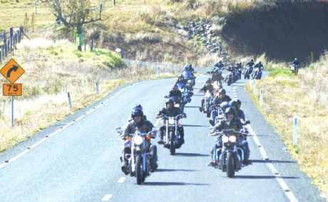 Bikers on the annual Vietnam Veterans' Poker Run freewheelin' just out of Lismore.