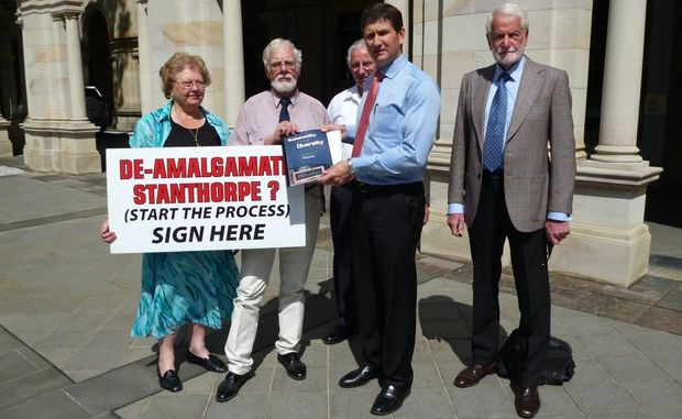 STRONG FEELING: Return Our Shire Action Group's Leisha Stanton, Bob Johnson, Alan Stanton and Lionel lindsay-Smith with local member Lawrence Springborg. Photo Contributed