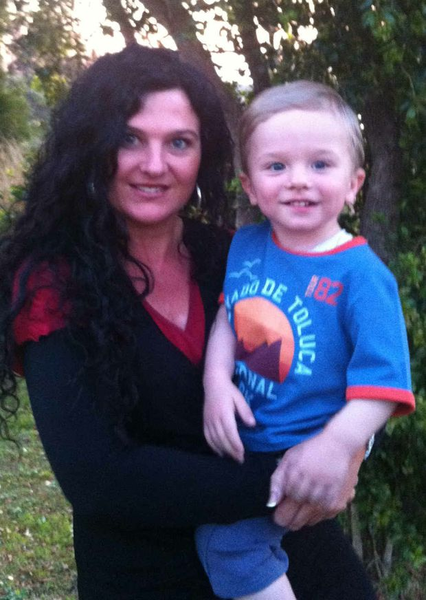 Collette White and her now healthy two-year-old son Diesel Mills.