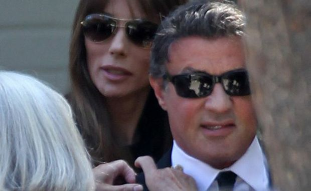 Sylvester Stallone at his son Sage's funeral.