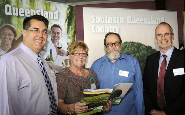 At the Southern Queensland Tourism Country Tourism launch are (from left) Southern Downs Regional Councillor Neil Meiklejohn, Southern Downs and Granite Belt Regional Tourism Board chairwoman Margaret Cairns, Tourism Queensland board member James Corvan and Toowoomba and Golden West South Burnett president James Haig.