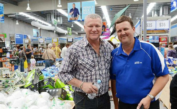 The Block's Scott Cam and Sunshine Mitre 10 chief executive officer Darren Jordison open the mega store in Gympie on Saturday.
