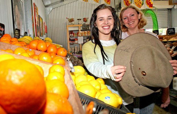 Emily Cotelli and Donna Flanagan in the 'Vege Shed' at Murwillumbah.