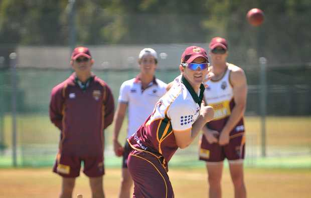 Nathan Hauritz bowls in the nets.