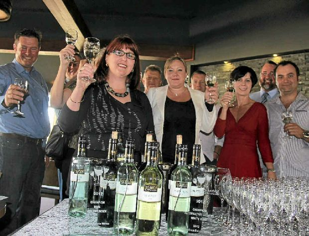 Ballandean Estate Winery's Leeanne Puglisi-Gangemi and her award-winning wines at Rupert's yesterday, is pictured with Sarah Reeves and Rupert's owners, Karen Bradshaw and Paul Spiteri. Cr Cameron Gow and Mayor Peter Blundell also come along to show their support.
