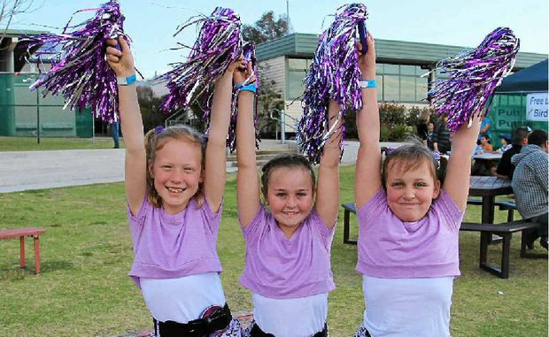 Maddy Welsh, Brianna Dagg and Elyza Fowler competed in the lip syncing competition at the Warwick West State School Fete.