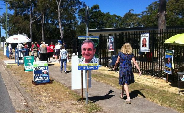 Voters stream into the Tweed River High School polling booth on Saturday.