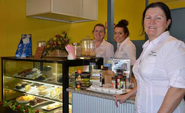 Sandy Wallace, right, has opened The Gorgeous Coffee Lounge in Killarney. Maddison Lamb and Katie Fenton are two of the smiling faces behind the counter.