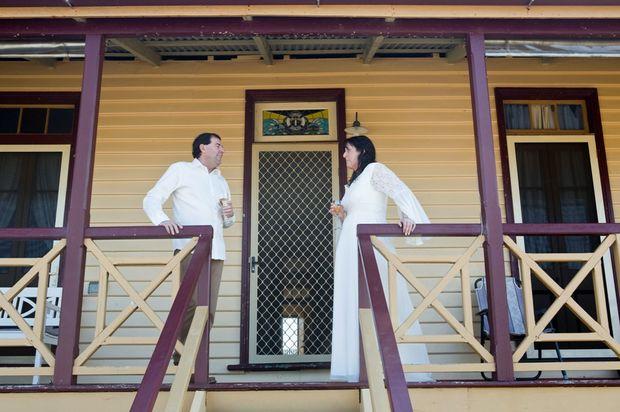 Greg and Amanda Allan on their wedding day in Yamba.
