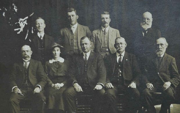 WOODBURN SHIRE COUNCIL 1914-16: (from left, back) H A McCallum (Richmond River Herald), B G Yabsley, C J Fenton, C Yabsley, front) A W Rose, Miss F B Fenton, C E Middleton (president), J T Olive, J Pursey.