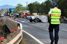 The tragic scene of a fatal road crash at Cameron Creek on the Bruce Highway, 3km north of Koumala.